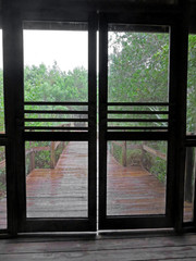 Rainy Wooden Boardwalk Through Screen Door Sanibel Captiva Conservation Foundation - how to build a door