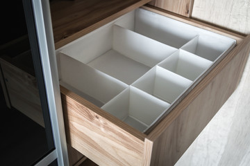 Wardrobe with sliding doors and drawers drawer. modern materials and furniture for interior - how to build a drawer