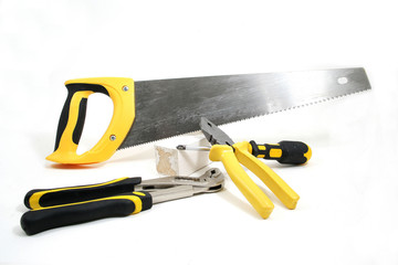 handworking tools in a white background - how to build a door