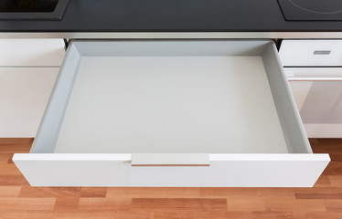 opened kitchen drawer - how to build a drawer