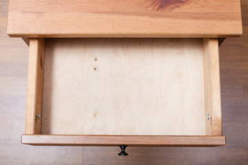 top view of empty open drawer - how to build a drawer