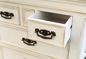 vintage wooden chest of drawers with black metal handles open - how to build a drawer