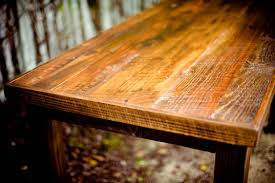 table with wood stain