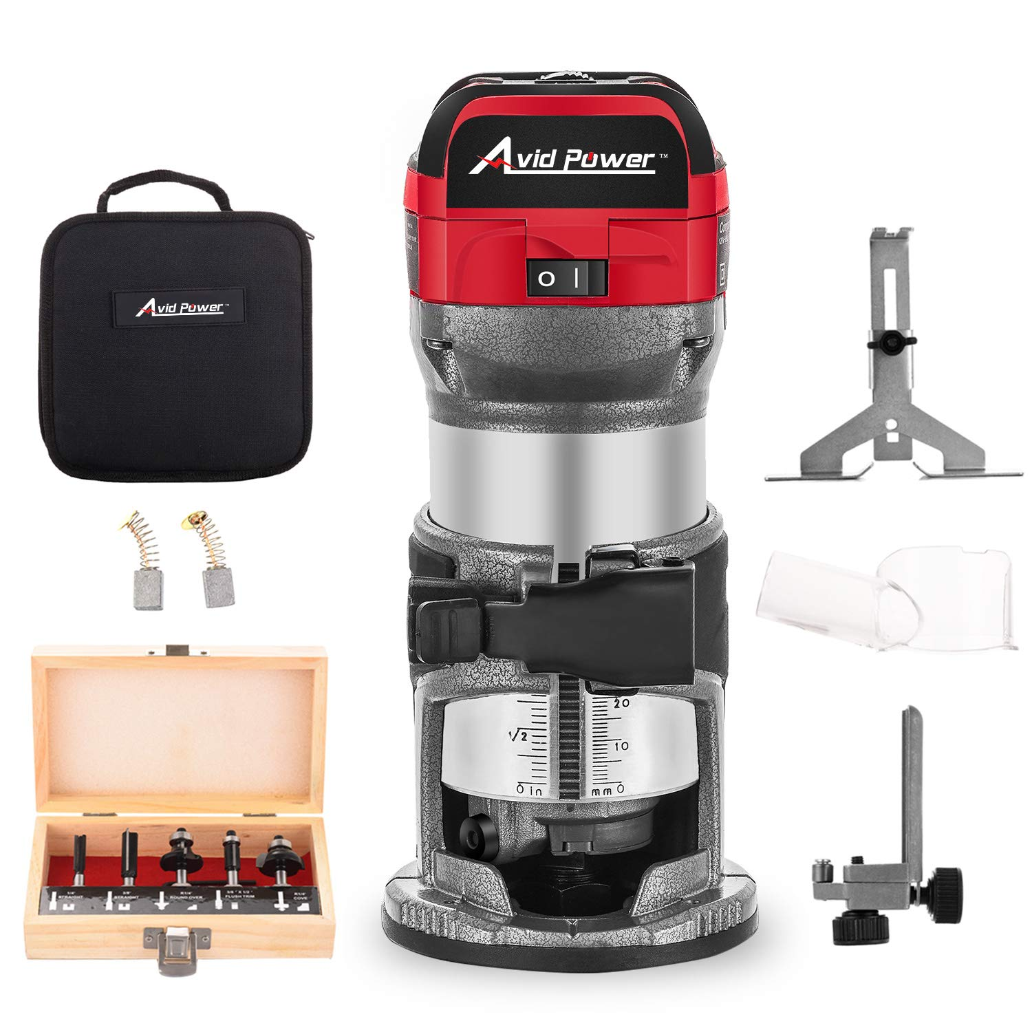 Compact Router with Fixed Base, 5 Trim Router Bits